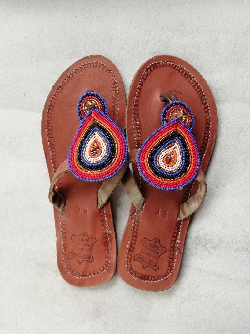 5058f3b86 Masai Beaded sandals, African sandals, Women Sandals, Leather ...