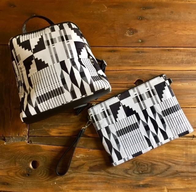 5eb9efded50 Sac à dos femme wax tissu africain imprimé géométrique graphique ...