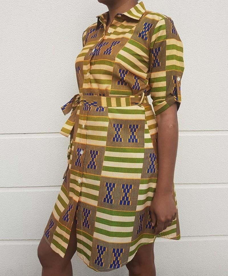 Robe chemise MATY par wax-faro - Robes courtes - Afrikrea 8588f10534f1
