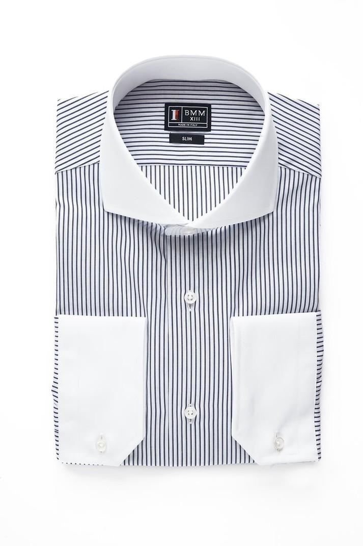 Chemise blanche à rayures noires par bmparis - Chemises manches ... b273692b769