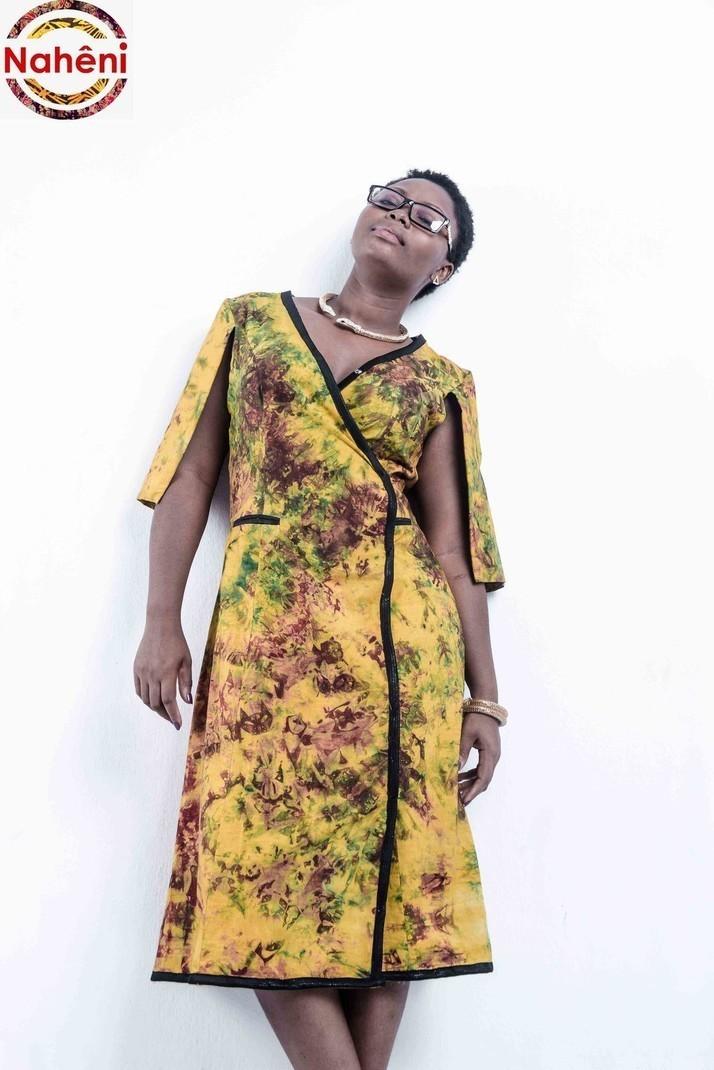 248a62e3aa448 Robe KIMONO mi Cap en pagne Batik authentique africain