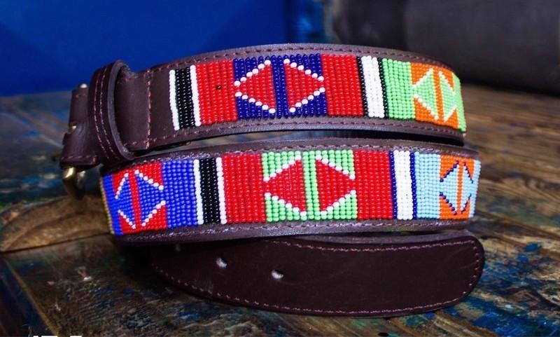 Ceinture en cuir perlé Maasai pour hommes et femmes - Couleur cuir ... 16be5757d0e