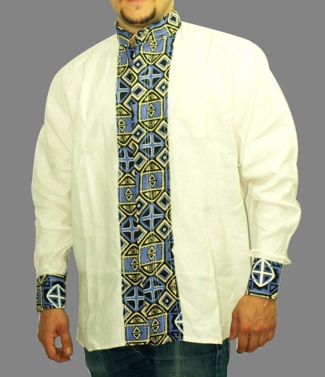 belle chemise col mao en lin et en tissu pagne africain. Black Bedroom Furniture Sets. Home Design Ideas