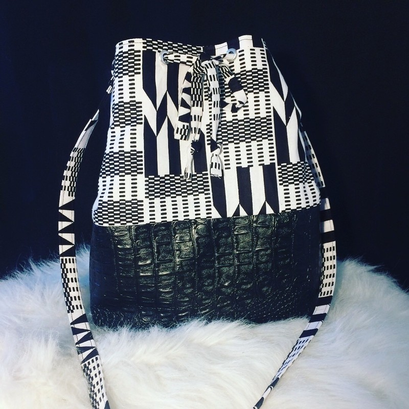 47abf1cfdf Bucket bag in African fabric kente and imitation leather by kla ...