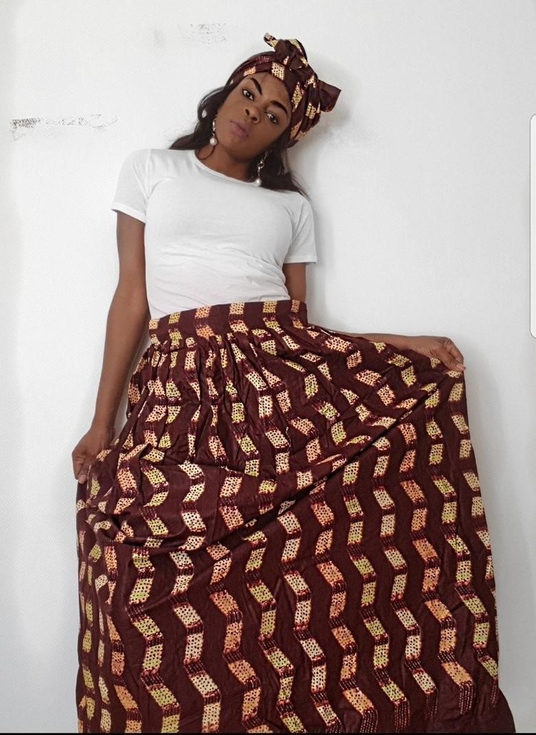 Jupe longue avec foulard mahola Jupes Mi longues jupes evasées, marron, , , , pour elle, wax,