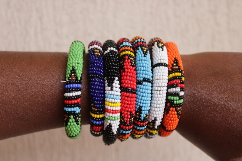 African Zulu beaded large bangle Gold//blue//red//pink Gift for her