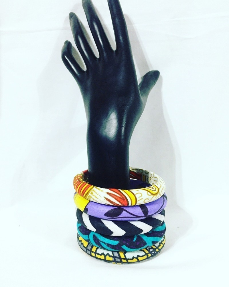 African print//Ankara fabric wooden bangles 5 pieces