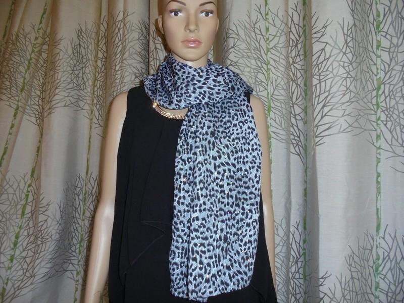 907340650268 Etole, écharpe en coton imprimé animal gris, noir et blanc avec ...