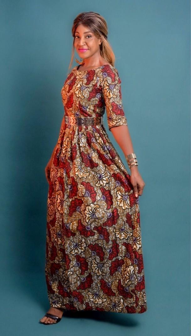 3a3b189f567 Maxi cotton print dress brown wax by dakrol - Long dresses - Afrikrea