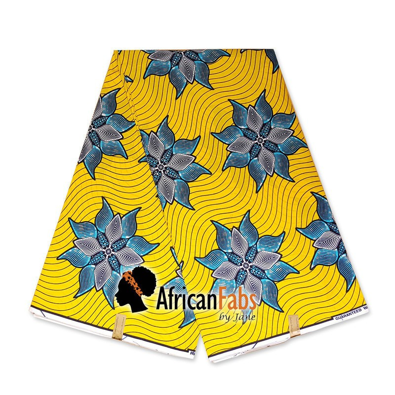 Blue and Royal Yellow 100/% Cotton African Print Fabric ; 6 Yards