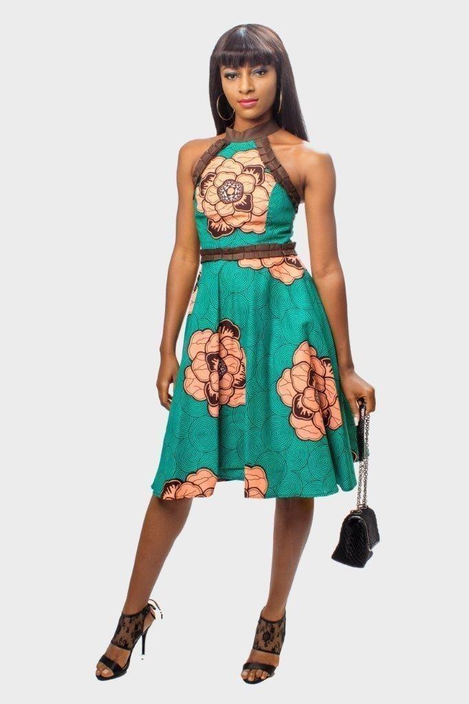77d47bfe6b2e8 Ankara Halter Neck Dress, Robe à imprimé africain, Ankara Fit et ...