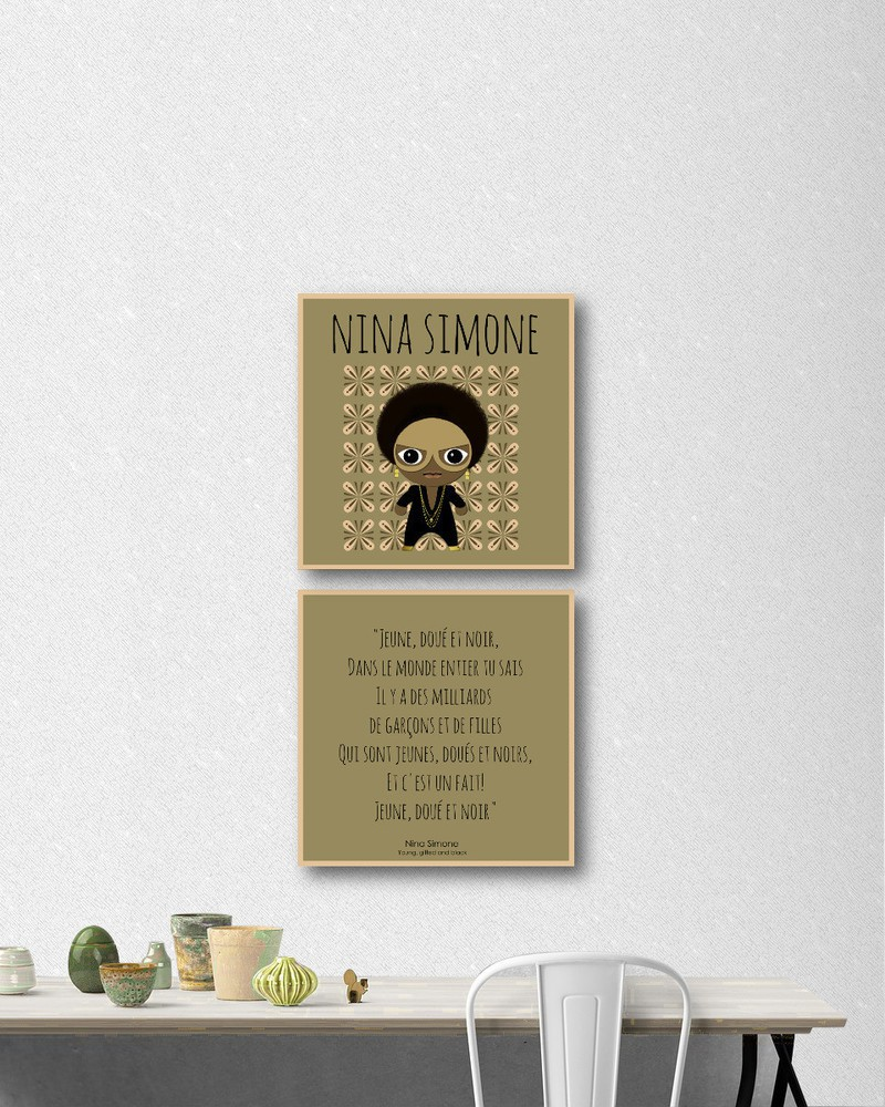 Idee Deco Chambre Garcon Super Heros for christmas: set of 2 canvases afro-history - nina simone - frames brown,  cloth