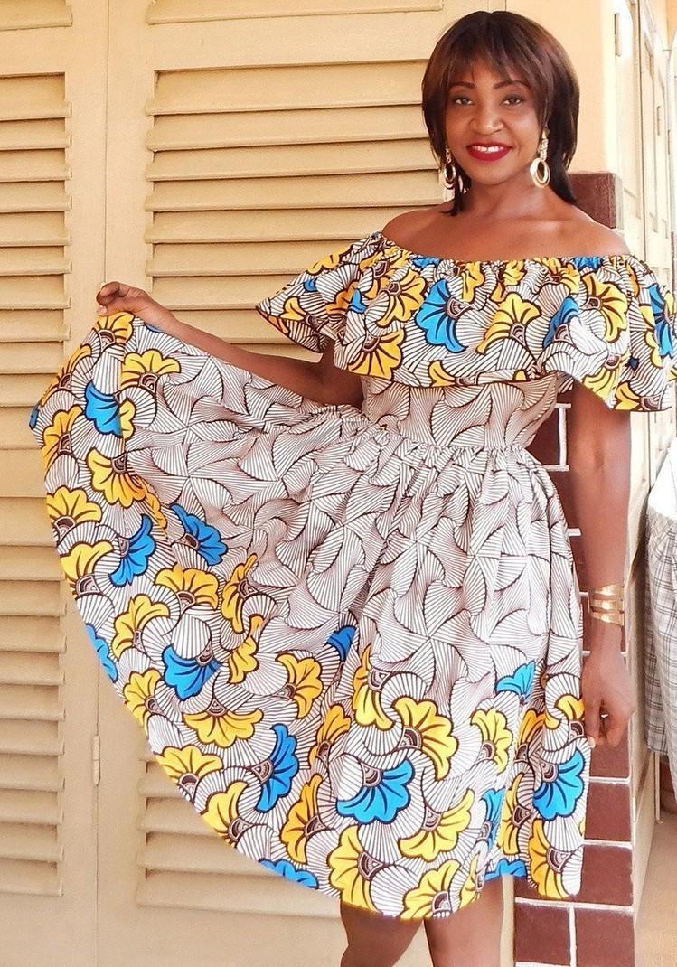 13c7c4772f2fd robe épaules dénudées en wax par dakrol - Robes courtes - Afrikrea