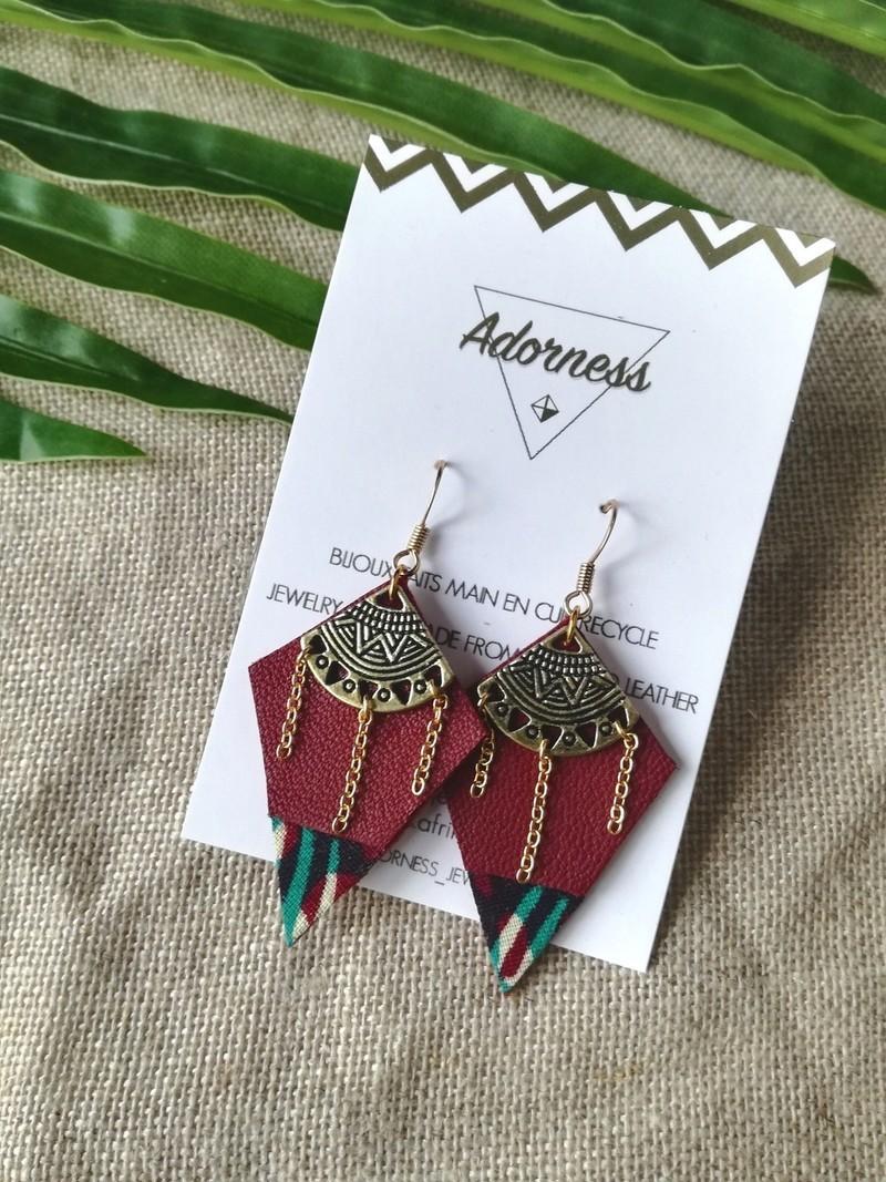 b9f66a535a64d8 NEW    Boucles d oreilles graphiques pendantes cuir wax vert bordeau ...