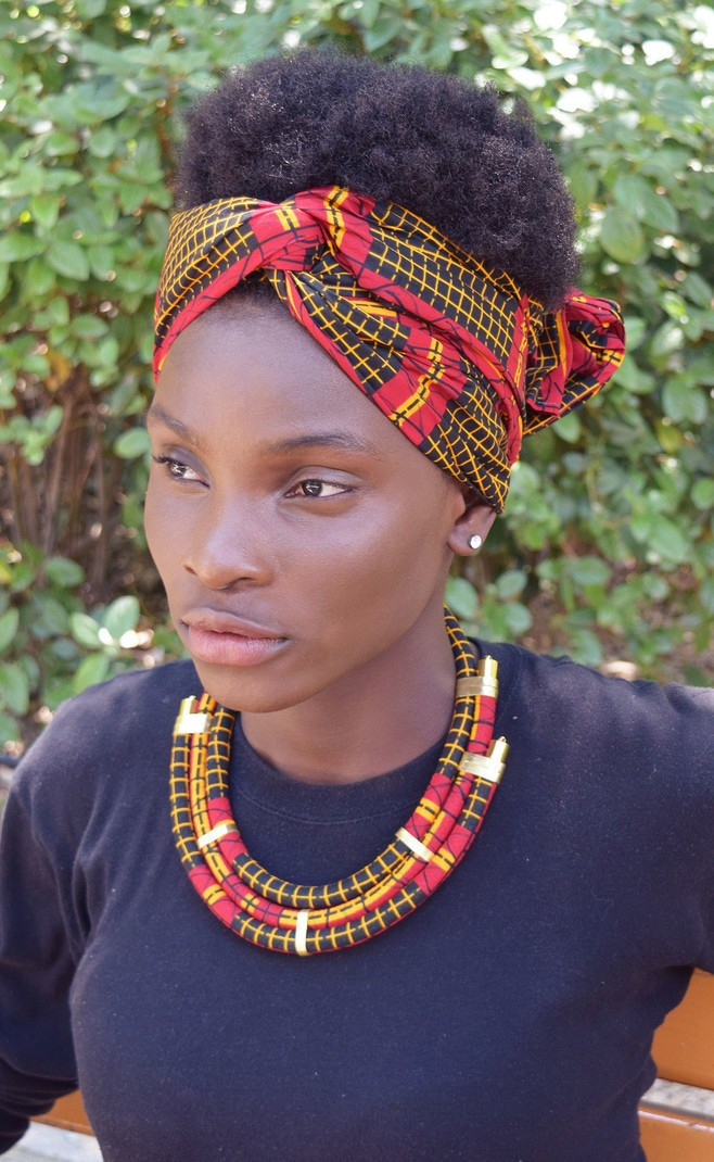 Moseka necklace red, black, and yellow, african jewelry, wax jewelry,  womens necklace - Mid-long necklaces multicolour, ankara/wax, for her,  ankara,