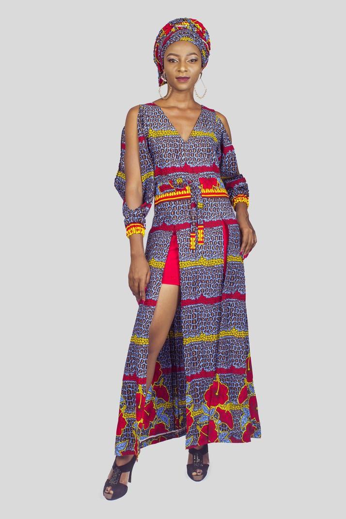 f5b310b4e499 Short dresses. African Print Mini Maxi Double Slit Dress