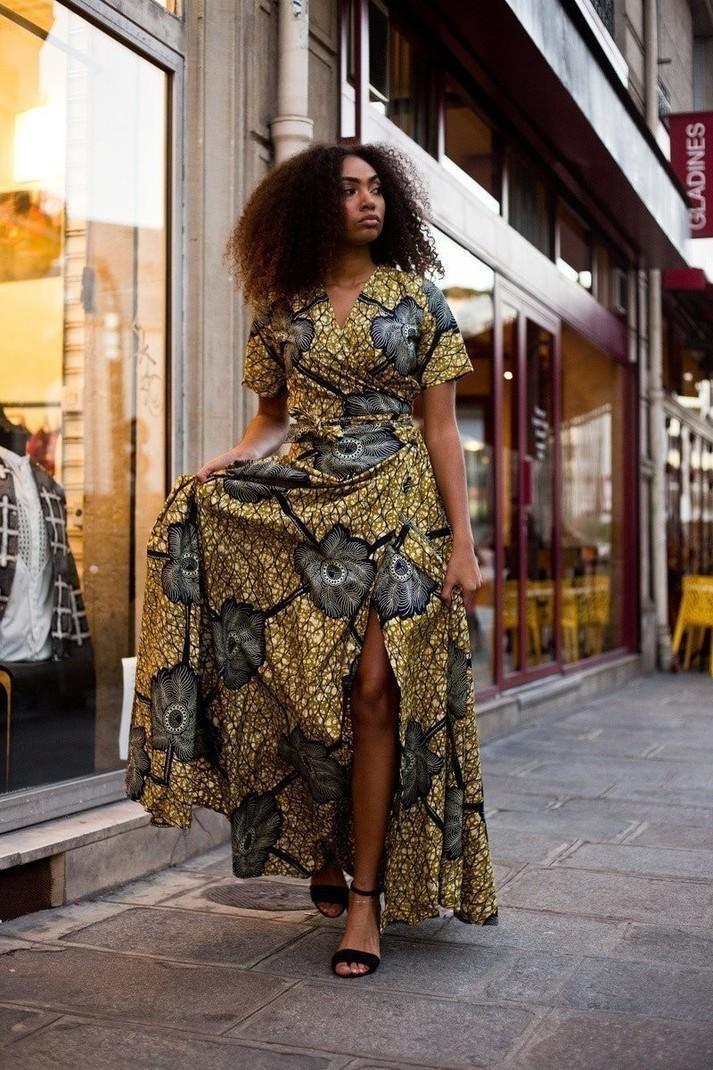 67e15b5e52b6f Robe Portefeuille Nénuphar par bazara-pagne - Robes longues - Afrikrea