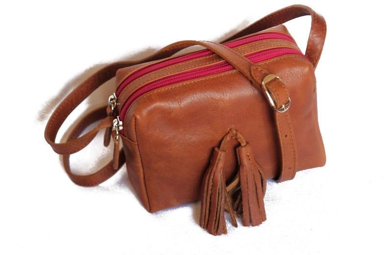 40445601f9 sac bandoulière cuir véritable végétable -petit sac cuir marron par ...
