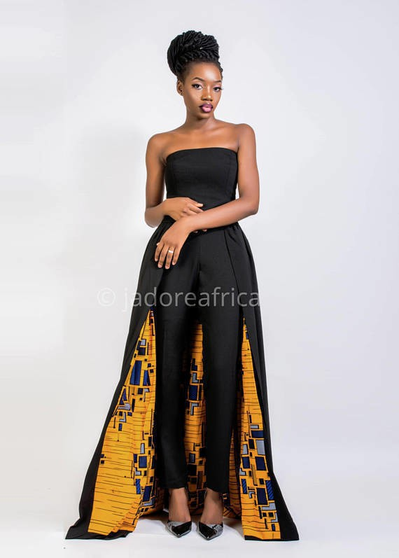 Jumpsuit With Cape Bridal Shower Jumpsuit Wedding Jumpsuit Jumpsuits Overalls Black Ankarawax For Her Ankara Fabric