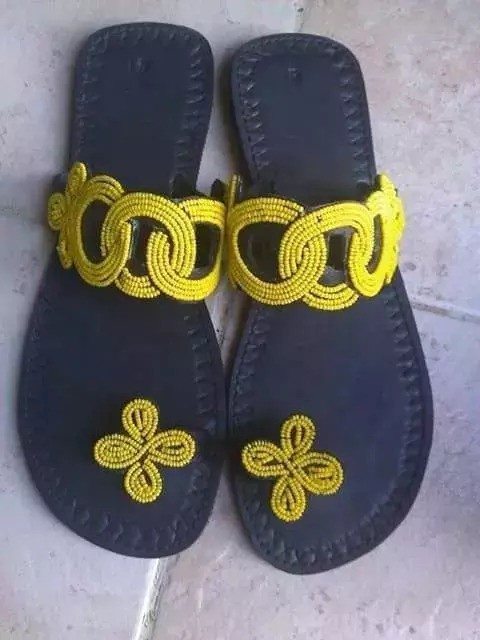 1690fdb707021 Masai sandals,African sandals,Beaded sandals,Leather sandals, - Sandals,  flip flops yellow, , , maasaï, for her, leather, beads,
