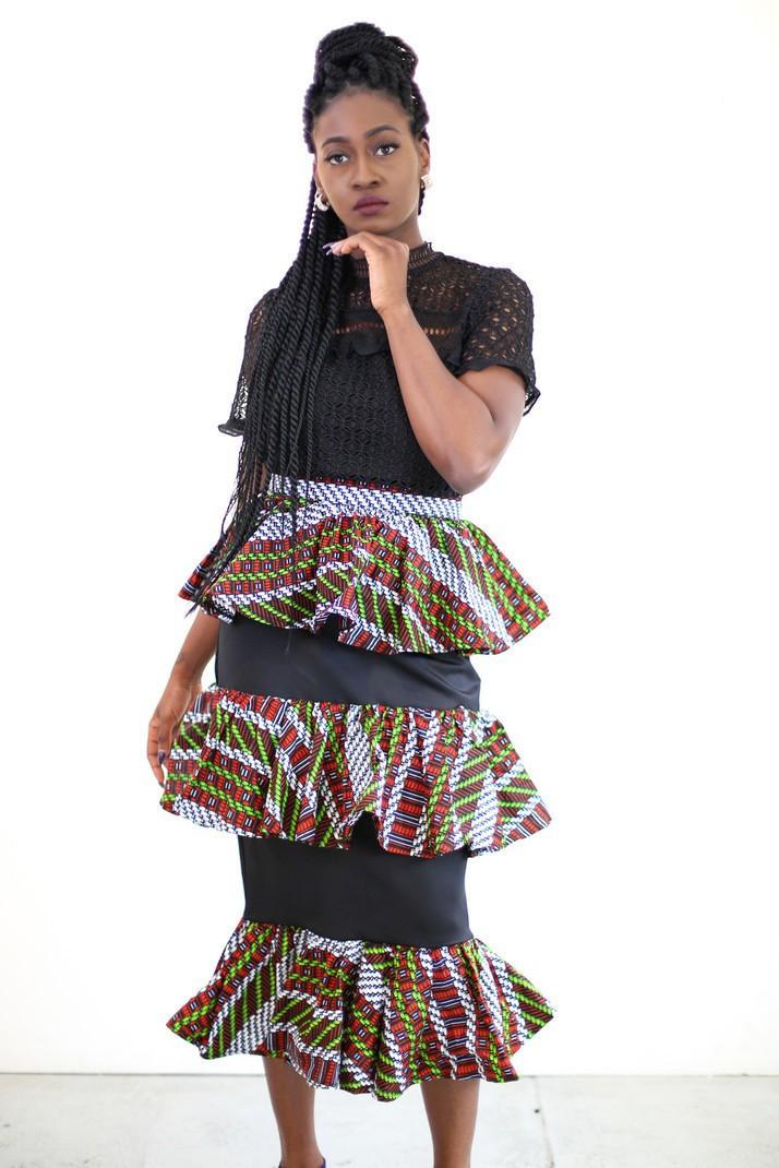 1fa5537960b New in African Print Ankara 3 Tier Midi Pencil Skirt by ...