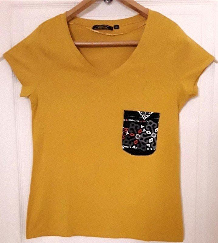a35cebd2268714 T-shirt femme jaune taille L avec poche en Wax par ...