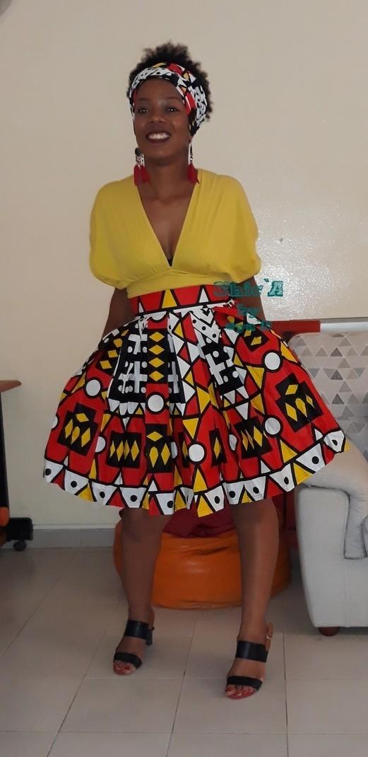9361d6b9af4cf3 Jupe Annah - Jupes Courtes et mini-jupes jupes taille haute, multicolore,  aucun, , wax, pour elle, wax, les beaux jours, workwear