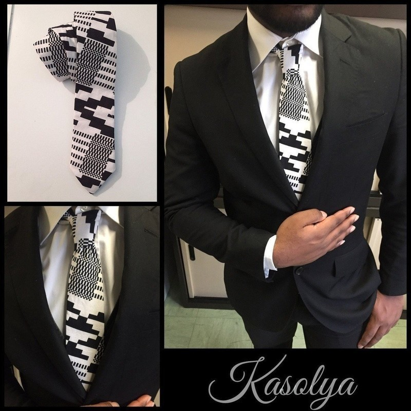 d0b881c1ca151 Cravate Wax Blanc & Noir par kasolya - Cravates - Afrikrea