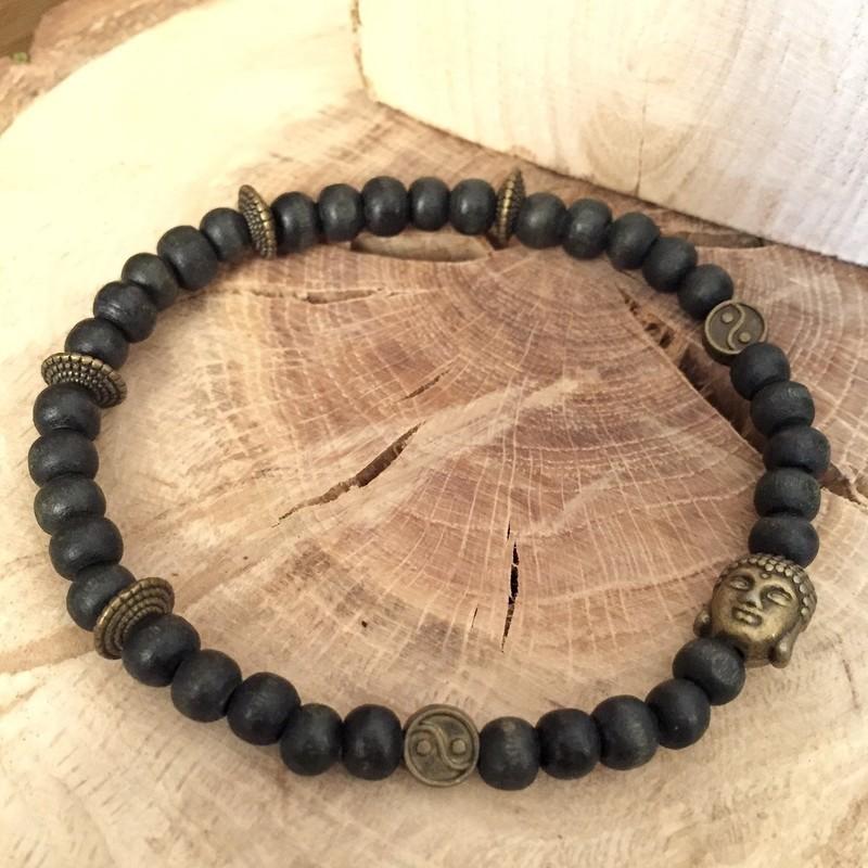 Discretes BeigeAucunLuiPerlesPièces Pour Homme Ethnique Bracelets Bracelet De Perles Bouddha YEW2I9DH