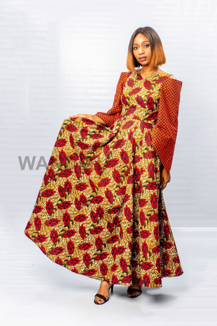 Robe longue plissée imprimée africaine Ankara à épaules dénudées ... 9faa3a22752