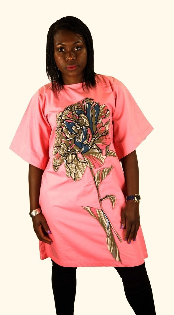 5ff77aac6 LECHA APPLIQUE KIMONO SLEEVES TUNIC DRESS - Pink - DHCH001 by nagany ...