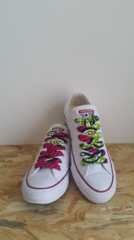 Pair of Wide Wax Laces Customization multicolour, for her, ankara