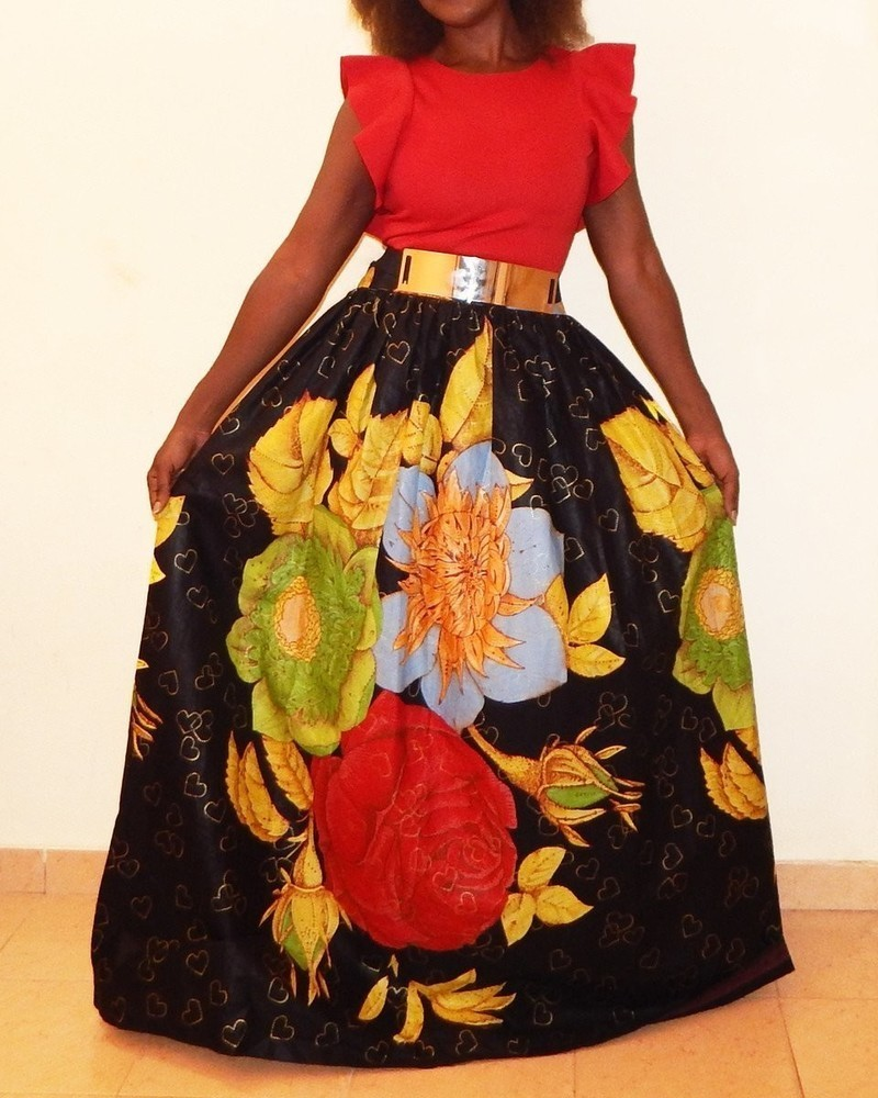 4815b8851f1a long flared with gold metal belt skirt by dakrol - Long skirts ...