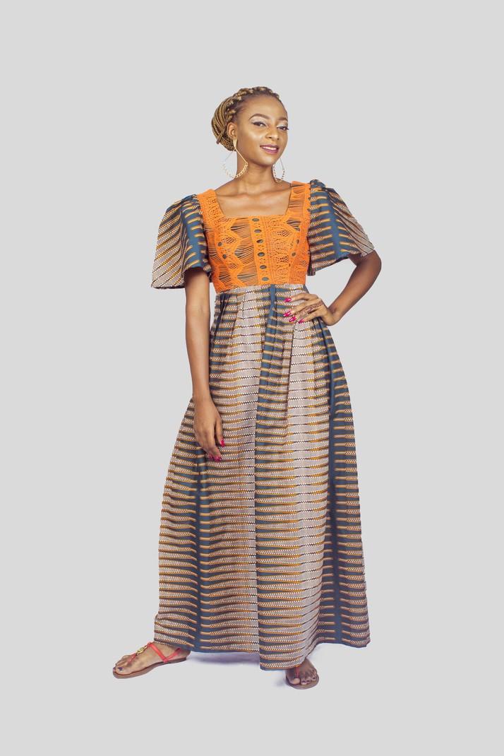 f2f4656ee50 Ankara and Lace Mix Maxi Dress