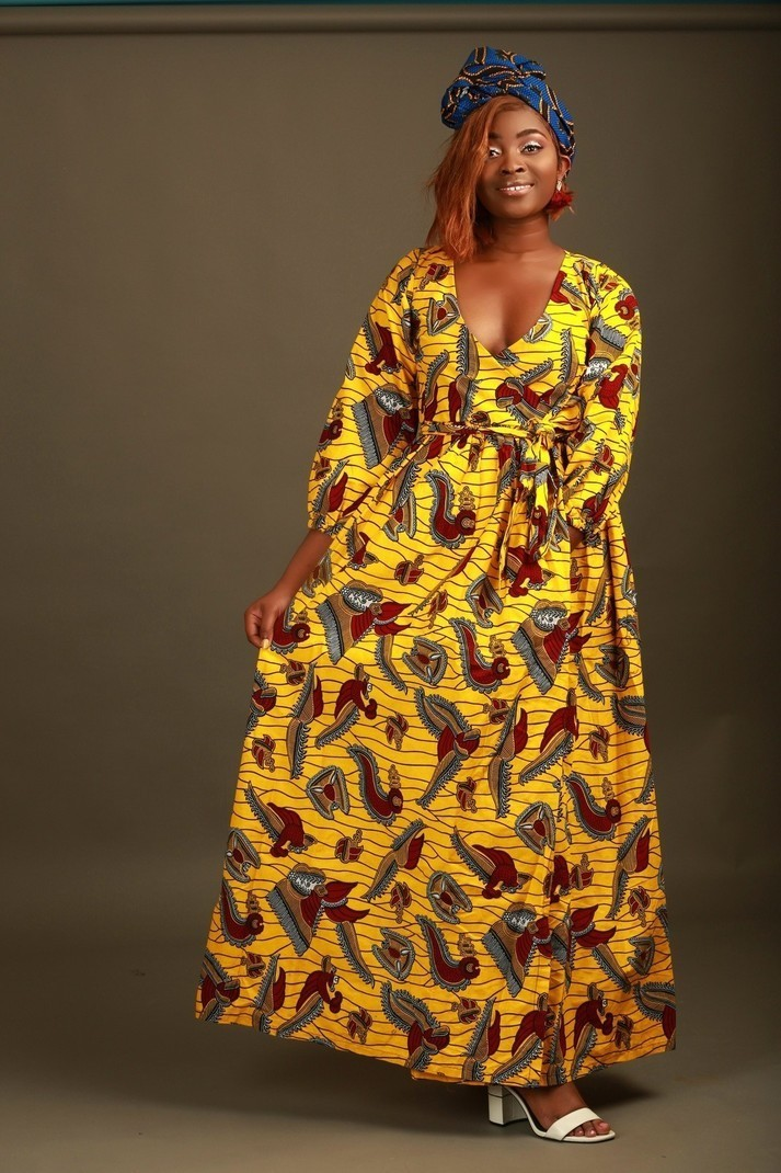 3184edd8a89 Robe portefeuille Jaune par sosoden - Robes longues - Afrikrea