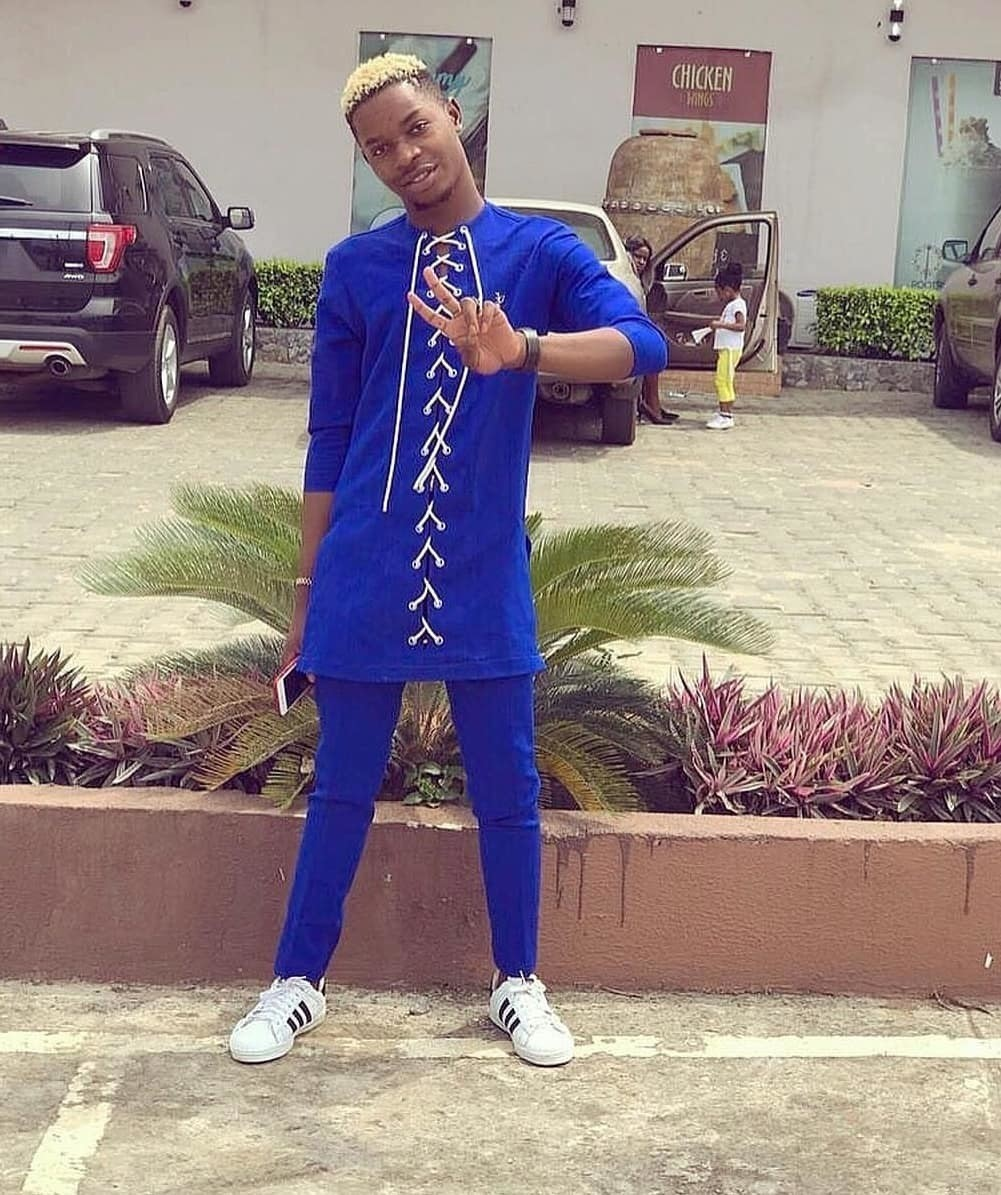 African Two Piece Kaftan In Blue African Men Danshiki Suit