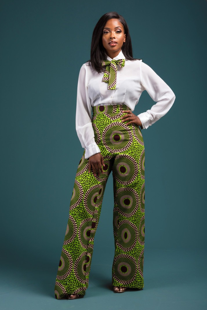 4d941bede5fab Ankara high waist trousers/ African print high waist trousers/ Chenai High  waist Trousers - High Waist Pants green, multicolour, none, all ankara, ...