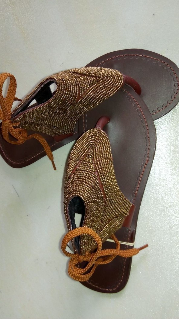 4eda57a7c6a5b African sandals / Maasai sandals / Kenyan sandals / women sandals /  handmade sabdals - Sandals, flip flops gold, , , , for her, beads, leather,