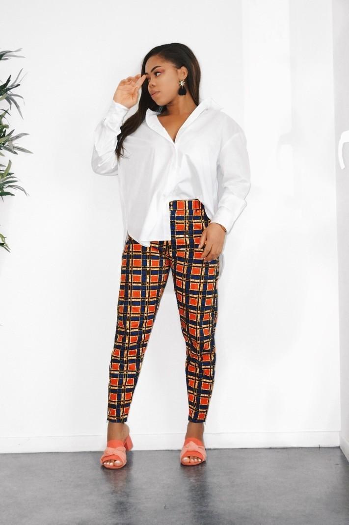 d7fdf87ab84662 Pantalon droit Taille haute - Pantalons Femme pantalons slim/droits, rouge,  petite, tall, casual, streetwear, wax, pour elle, coton, tenues de ...