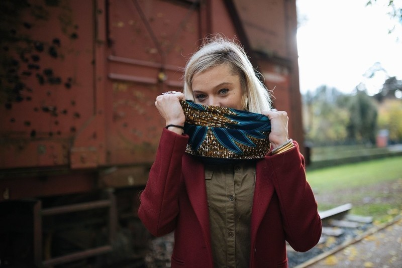 Snood   Scarf   African Joal reversible wool and fabric choker ... a3dc361432f