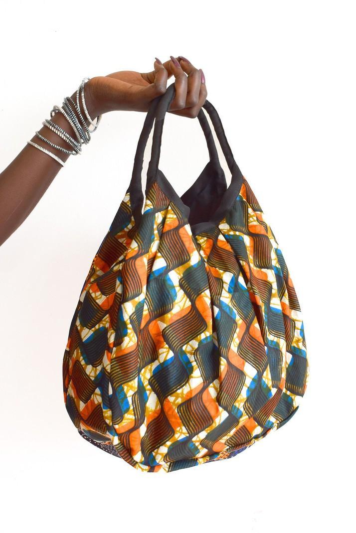 6c7a8d11c70c5b Sac en wax, sac à main ethnique, sac dété en tissu wax Africain orange et  bleu - Sacs à main orange, wax, imprimé