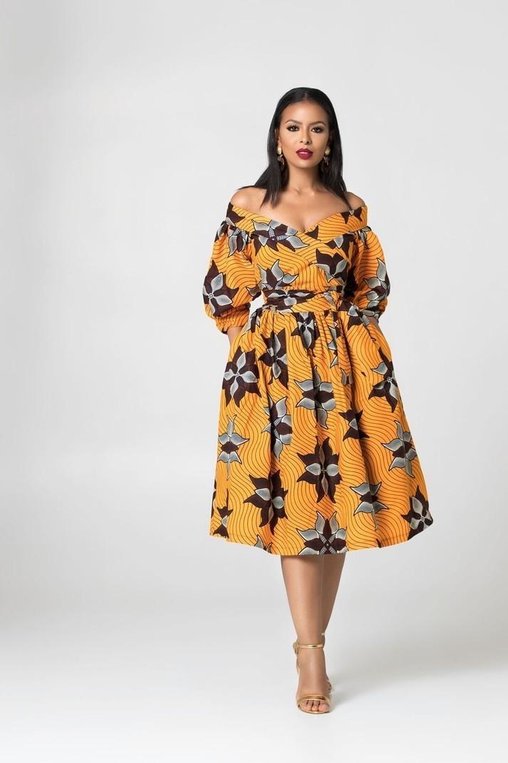 d3cf80c4953 Robe midi imprimée africaine Gessy par grass-fields - Robes Mi ...