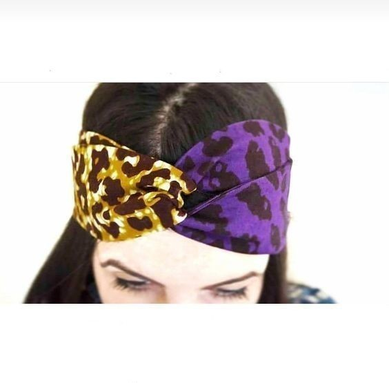 African Print Turban Headband Ankara Fabric   Purple Leopard Print ... add360c4aaf