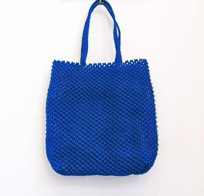 b3e39aacf794 Handbag, macrame bag, craft bag, weaving bag, blue bag for city or beach. -  Hand bags blue, plastic