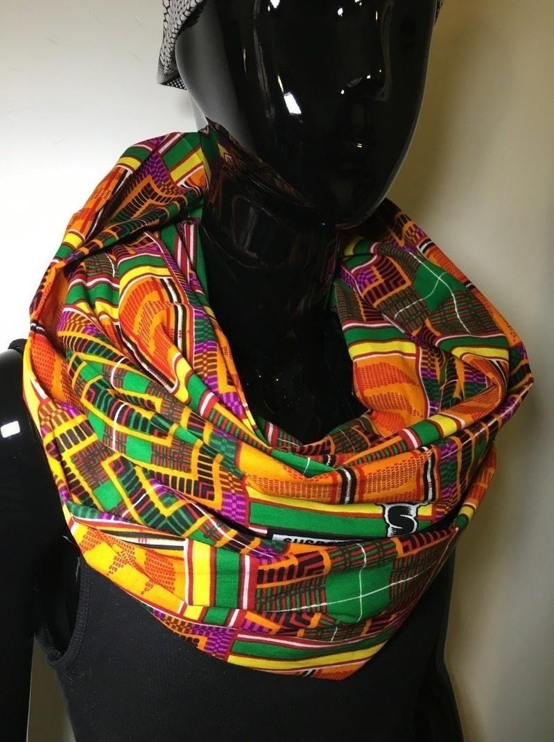 foulard echarpe double snood velours et wax (2 tours)  9 par ... a24ae3be31f
