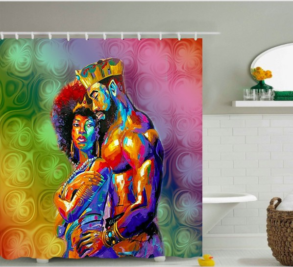 Black Love Shower Curtain By Lakemita