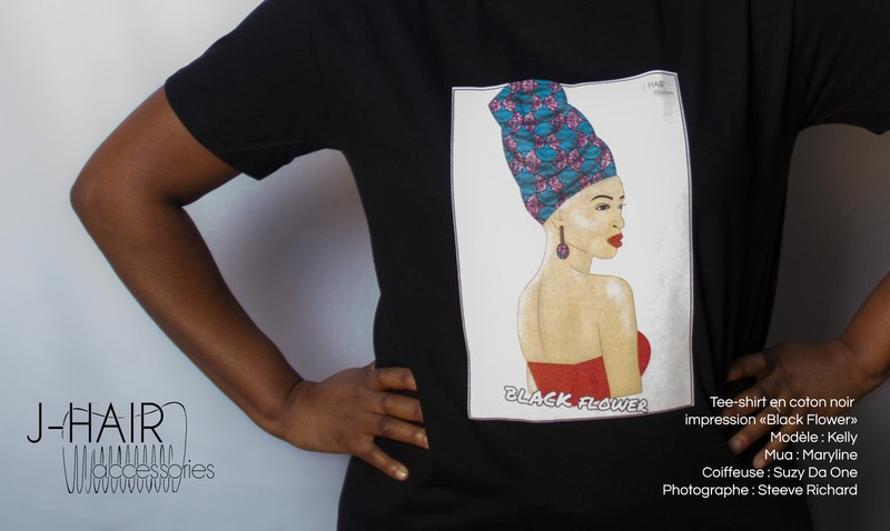 Tee-shirt noir Black Flower par j-hair-accessories - T-shirts femme ... 1acce0d0cee