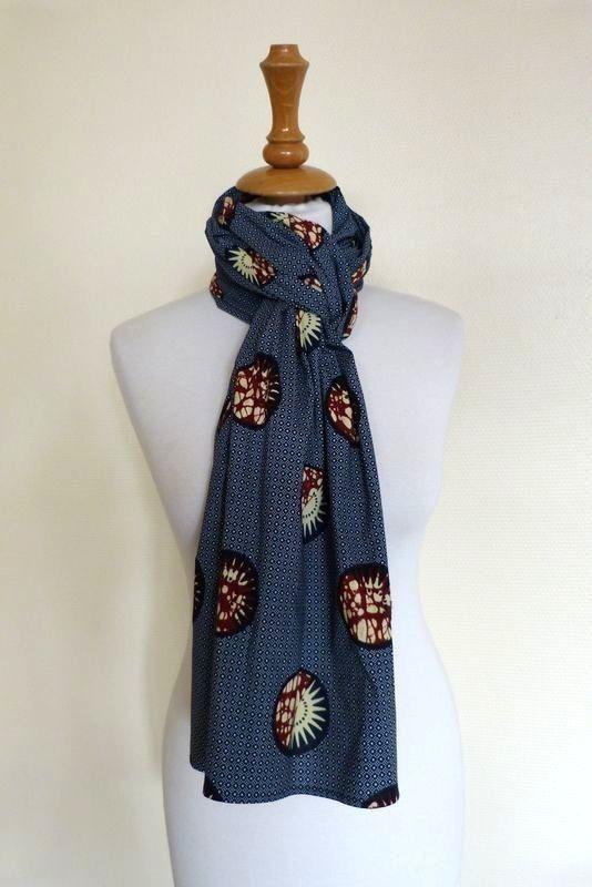 FOULARD cheche SOLEIL - head scarf - Man Woman Unisex - Wax - F 3 by ... 0aab2fc9157