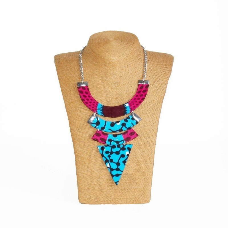 0fe90e2c91ce2 Collier Ethnique, Wax Disques rose, Collier africain, Collier wax ...
