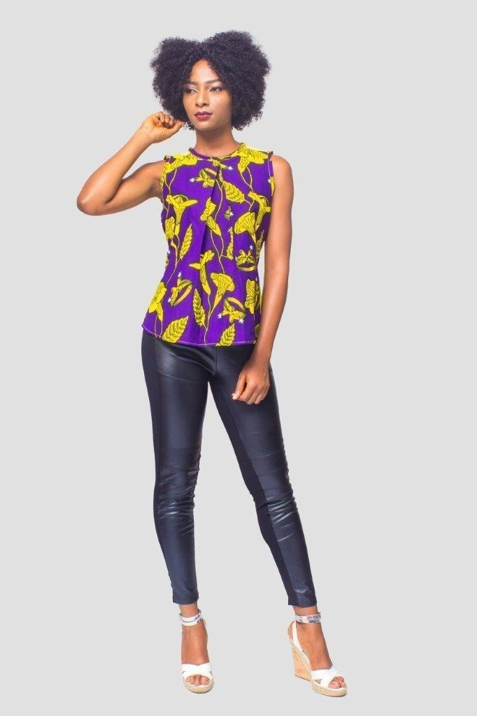 910763bbec496 African Print top,Ankara top,Kitenge top,African Womens Clothing, Womens  Clothing, Ankara blouse - Blouses purple, tall, casual, with an ankara  touch, ...